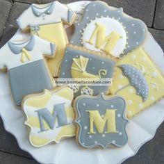 yellow and gray baby shower -