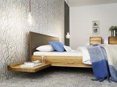 Bettanlage | Doppelbett | Schwebetoptik | Bettseiten in Holz oder Leder - bei Möbel Morschett