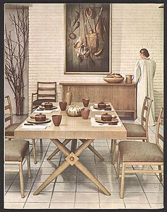 Citation: Dining room by Robsjohn-Gibbings, 1950. Terence Harold Robsjohn-Gibbings papers, Archives of American Art, Smithsonian Institution.