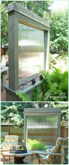 DIY Patio Water Wall Instruction - DIY Fountain Landscaping Ideas & Projects DIY Garden Fountain Landscaping Ideas & Projects with Instructions: Outdoor Fountain DIY projects, built in fountain and water features tutorials Backyard Garden Design, Patio Design, Backyard Landscaping, Diy Landscaping Ideas, Backyard Waterfalls, Backyard Ponds, Patio Ideas, Diy Garden Fountains, Diy Fountain