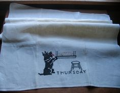 Vintage 1940s Embroidered Linen Towel Thursday by chameleonCMC, $12.00