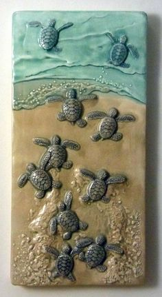 Art tile, Ceramic wall art, Leaving the Nest, 8 inches Baby Green sea turtles by MedicineBluffStudio on Etsy Stone Crafts, Rock Crafts, Clay Crafts, Resin Art, Clay Art, Ceramic Wall Art, Sea Glass Art, Seashell Crafts, Art Mural