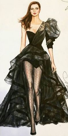Fashion Illustration~ Uploaded by user Fashion Design Sketchbook, Fashion Design Drawings, Fashion Sketches, Art Sketchbook, Fashion Prints, Fashion Art, Fashion Models, Fashion Collage, Croquis Fashion