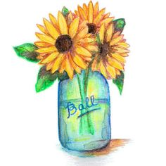 sunflowers in mason jar paintings on canvas - Google Search