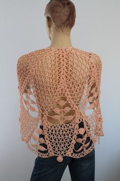 Apricot Cotton Lace Crochet Shawl   Holiday by levintovich on Etsy,