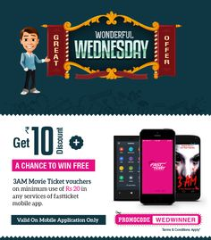 How about pre-#Navratri Festival #2014 Celebration with Fastticket.in ?  #wonderfulwednesday is up with #special #offers for #online #recharges & chances to get #Free movie ticket #vouchers.   Know more here: http://fastticket.in/other/special-offers