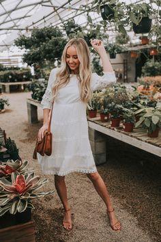 Modest White Dress, White Boho Dress, White Dress Summer, White Dress Casual, White Romper, Plus Dresses, Modest Dresses, Pretty Dresses, Dresses With Sleeves
