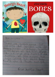 To address NGSS PE 4-LS1-1, students can use what they've learned to write a letter from Henry's heart to one part of Henry's skeleton.