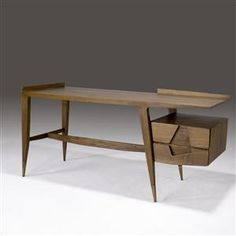 Exquisitely original and artistic desk by brilliant Italian modernist architect Gio Ponti.