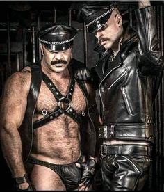 leather Master in full uniform boy in harness and jock as it should be Leather Fashion, Leather Men, Leather Jacket, Leather Underwear, Comfy Pants, Beard Balm, Black And White Man, Hot Hunks, Bear Men
