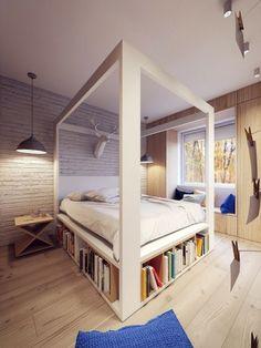 chambre adulte avec lit avec rangement