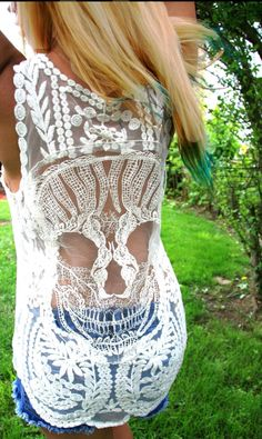 NEW Candy Skull Crochet Back Boho Tank Top in Ivory or Black Lace Tank NEW by AlyandJoshua on Etsy