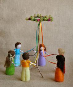 Spring Celebration Waldorf inspired needle felted dolls via Etsy.