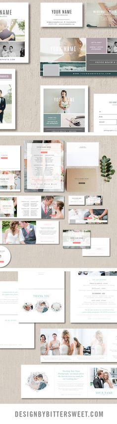 Wedding photographer welcome packet. Photography templates. Customizable branding and marketing materials. Affordable and easy to use. Save time and start attracting your ideal clients. Marketing sets come complete with business card, gift card, pricing guide, price list trifold, dvd stickers, thank you card, post card, Facebook timeline.