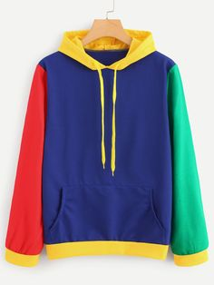Shop Cut And Sew Panel Hoodie online. SHEIN offers Cut And Sew Panel Hoodie & more to fit your fashionable needs. Trendy Hoodies, Mode Simple, Vetement Fashion, Hoodie Sweatshirts, Retro Outfits, Aesthetic Clothes, Diy Clothes, Street Wear, Fashion Outfits