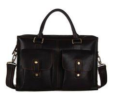 100% Genuine Cow Leather Men's Dark Coffee Briefcase Laptop Bag Messenger