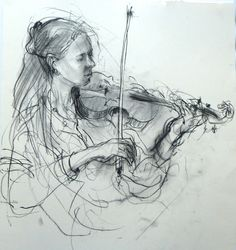 Playing Elgar . Charcoal drawing . Felicity House #figurative #portrait #art