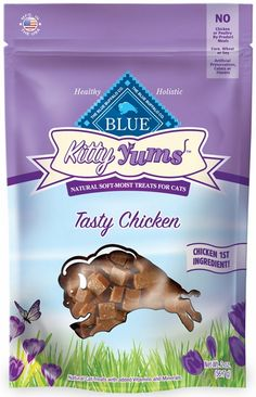 BLUE Kitty Yums Tasty Chicken Cat Treats  are the perfect way to reward your favorite feline. Made with real chicken as the first ingredient, these tender morsels are packed with flavor that will leave her purring for more. Every tender bit is packed with: Real Chicken, Wholesome brown rice, Oatmeal, Fish oil