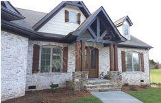 Craftsman Style House Plan - 3 Beds Baths 2404 Sq/Ft Plan Exterior - Other Elevation Exterior Brick/Trim Ideas Exterior House Colors, Exterior Paint, Exterior Design, Rustic Brick House Exterior, Craftsman Exterior, Brick House Plans, Craftsman Homes, Brick Exterior Makeover, Stone Exterior Houses