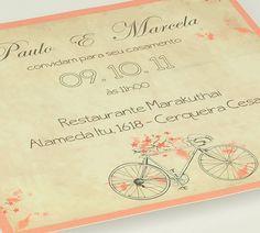 Convite de casamento vintage com bicicleta retrô - AboutLove