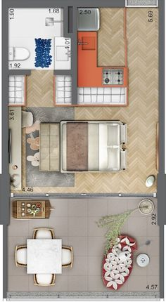Studio Apartment Layout, Studio Layout, Apartment Design, Tiny House Plans, House Floor Plans, Hotel Alto, Exterior Design, Interior And Exterior, Floor Plan Layout