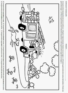 fireman coloring pages coloringpages Coloring Page School Community, Community Helpers, Activities For Kids, Crafts For Kids, Fire Kids, Truck Coloring Pages, Grande Section, Fire Prevention, Baby Development
