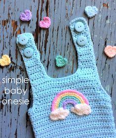 Ravelry: Simple Baby Onesie pattern by Sara Kay Hartmann Crochet Onesie, Crochet Baby Clothes, Newborn Crochet, Crochet Dresses, Crochet For Boys, Free Crochet, Knit Crochet, Simple Crochet, Booties Crochet