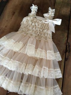Flower Girl Dress - Lace Flower girl dress - Baby Lace Dress - Rustic - Country Flower Girl - Lace Dress - Ivory Lace dress - Bridesmaid on Wanelo