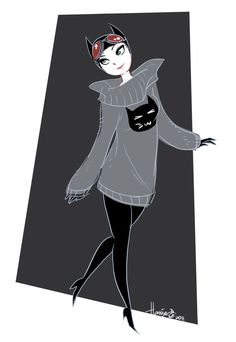 Catwoman in a Sweater by *HanieMohd on deviantART
