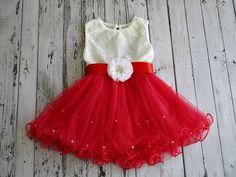 Red flower girl dressred tulle dressgirls red dresswhite