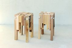 Bits of wood stools by pepe heykoop from wood offcuts