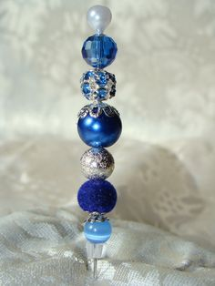 MMM Royal Blue Hat Stick Pin for  Scrapbooking by marysmist
