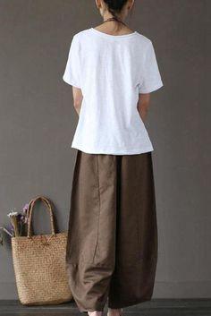 Coffee Loose Cotton Linen Casual Ankle Length Pants Women Clothes P1203