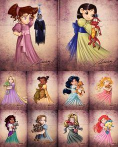 Baby princesses cartoon illustration via www.Facebook.com/DisneylandForMisfits
