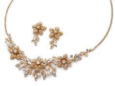 USABride Champagne & Gold Tone Bridal Jewelry, Floral Rhinestone Necklace & Earring Set for Weddings 538 CH USABride http://www.amazon.com/dp/B004HPHACU/ref=cm_sw_r_pi_dp_wzrpvb04G67MZ