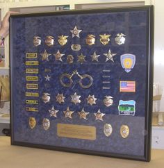 I've got to get this done for my guy.Custom framed badges and pins. Law Enforcement Badges, Police Badges, Blue Line, My Guy, Shadow Box, Custom Framing, Creative Art, Picture Frames, Leo Wife
