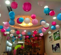 Loving this wedding decoration setup idea featuring many different paper lanterns. Paper Lantern Lights, Paper Lanterns, Birthday Parties, Birthday Cake, We Are The Ones, Cool Toys, Confetti, Boy Or Girl, Wedding Decorations