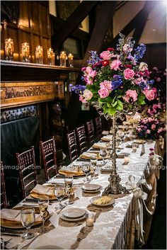 Beautiful wedding centerpieces and table decor. #wedding #details #flowers #table #centerpiece #pink #purple #gold