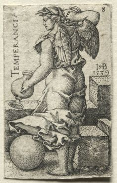 Hans Sebald Beham (1500-50) - The Knowledge of God and the Seven Cardinal Virtues: Temperance - Temperancia (engraving); Cleveland Museum of Art