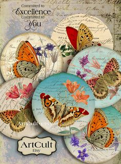 Imágenes digitales Collage hoja cutre mariposas 2.5 por ArtCult Printable Images, Arte Country, Arts And Crafts, Paper Crafts, Butterfly Decorations, Decoupage Art, Insect Art, Process Art, Cd Diy
