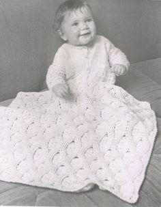 Sleeping beauty pram blanket vintage baby crochet by Ellisadine