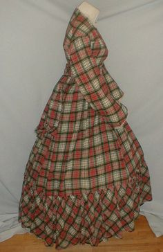 """Museum de Accessioned 1860's Red Plaid Wool Dress 