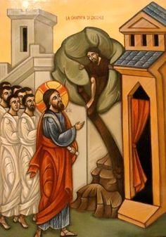 Jesus calling to Zacchaeus (who was a tax collector). Let us respond to Jesus just as Zacchaeus did❤️ Zacchaeus, Godly Play, Spiritual Images, Life Of Christ, Jesus Calling, Old And New Testament, Byzantine Icons, Orthodox Christianity, Orthodox Icons