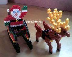 DIY Santa Christmas hama perler beads by Deco. Hama Beads 3d, 3d Perler Bead, Hama Beads Patterns, Fuse Beads, Beading Patterns, Christmas Perler Beads, Noel Christmas, Christmas Ornaments, Motifs Perler