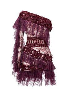 Floral-Appliquéd Mini Bordeaux Dress