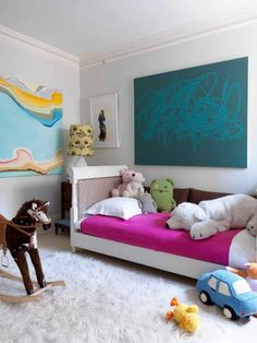 bright child's room. love real art in a child's space.