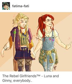 Such cute artwork by fatima-fati ~ Linny ~ HP Femslash ~ Harry Potter ~ Rebel Girlfriends ~ Luna Lovegood ~ Ginny Weasley