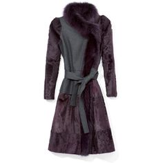 Carolina Herrera Lambskin Fur Coat Felt Body And Fox Fur Trim (587,925 DOP) ❤ liked on Polyvore featuring outerwear, coats, lambskin fur coat, fox coat, carolina herrera, purple coat and fur coat