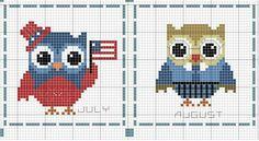 Cross Stitch Owl, Cross Stitch Animals, Cross Stitching, Cross Stitch Embroidery, Cross Stitch Patterns, Crochet Square Patterns, Crochet Diagram, Quilling Craft, Plastic Canvas Crafts