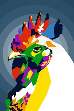 wpap art of chicken. Colorful Animal Paintings, Pop Art Face, Animal Graphic, Simple Wall Art, Pop Art Portraits, Galo, Arte Pop, Sketch Painting, Acrylic Art